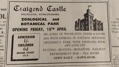 Craigend Castle Zoo Adver, Stirling Observer 1949