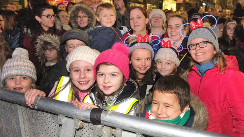 Image of Children waiting on Christmas Tree Light Switch on