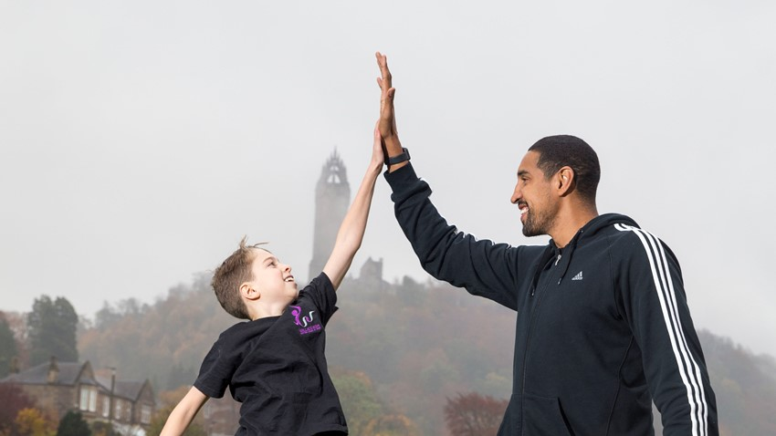 Image of Wallace High pupil and Kieran Achara - Stirling Scottish Marathon