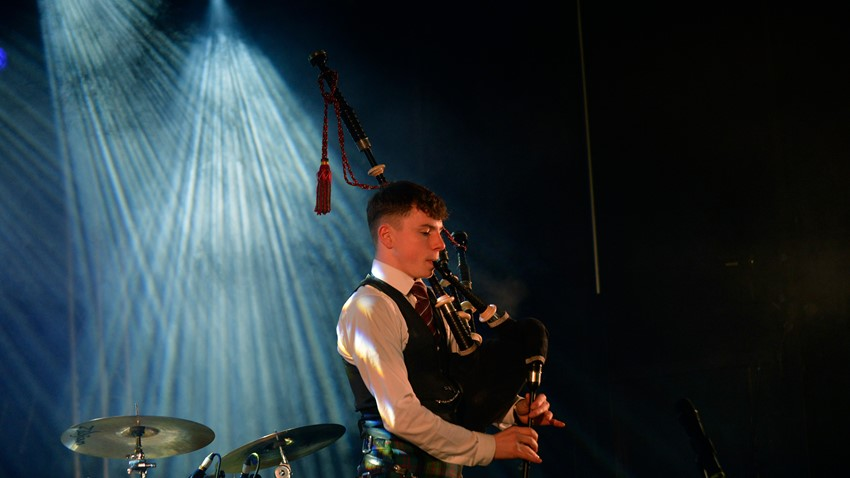 Image of Piper entertains at Stirling's Hogmanay 2019
