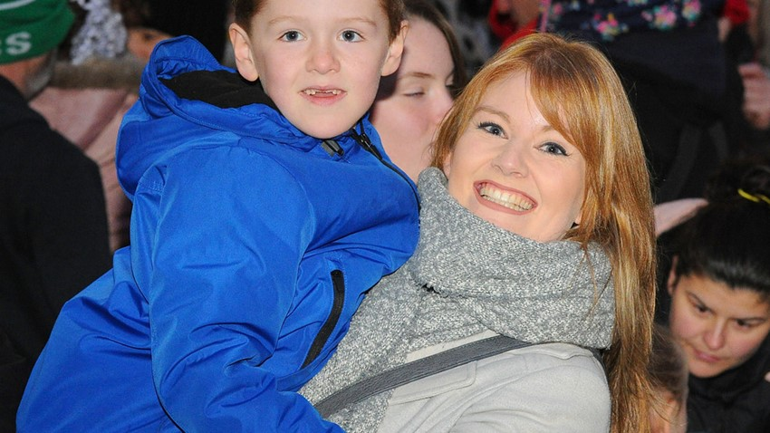 Image of Mother and Son, Christmas Lights Switch on Event