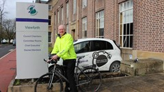 Cllr Jim Thomson outside Stirling Council HQ at Old Viewforth