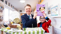 Ryan Gerry (5) and Chief Executive of the Care Inspectorate, Peter Macleod at Cornton Nursery