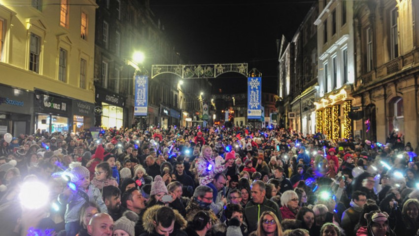 Image of Christmas Light Switch on Event Crowds