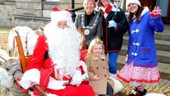 Provost and Guests visiting Santa's Sleigh