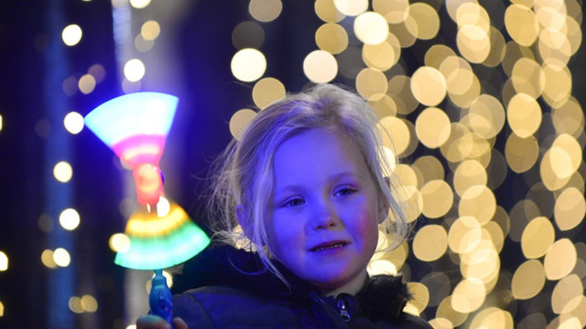 Image of Girl with light up Fairy Wand, Christmas Lights Switch on Event