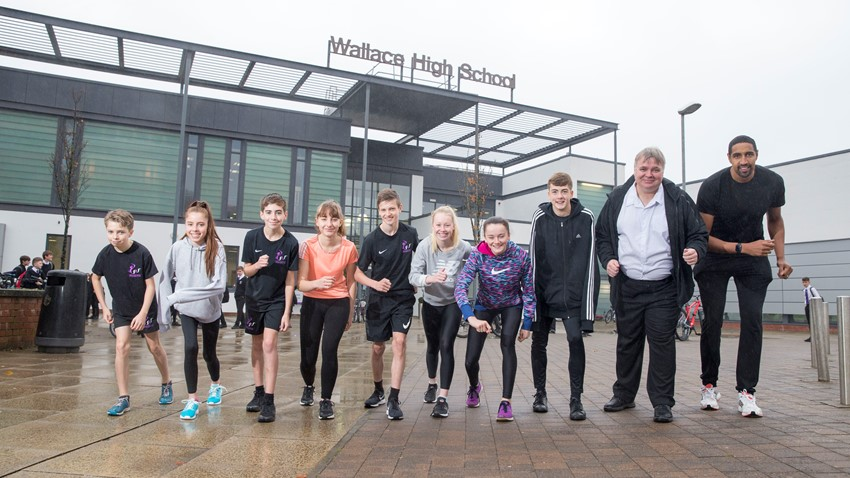 Image of Kieran Achara, Councillor Kane and Wallace High Pupils, Stirling Marathon