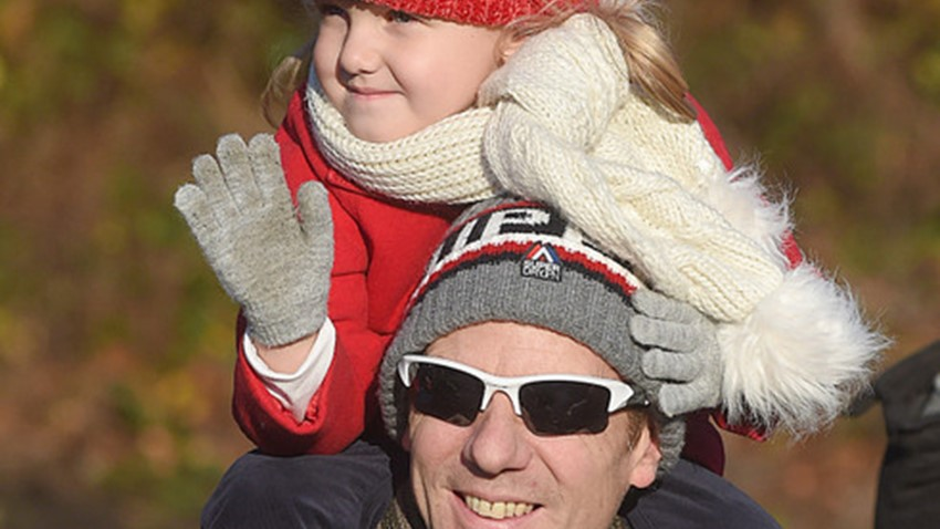 Image of Dad and Daughter, Christmas Lights Switch on Event