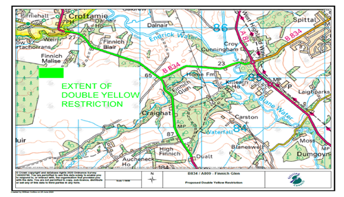 Map of A809 and B834 restrictions