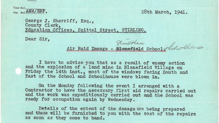 Image of Correspondence concerning the damage to Strathblane School