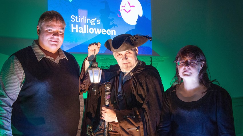 Councillors with Actor for Halloween Event