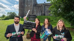Stuart Oliver, Stirling Council's Senior Manager, Economic Development, Culture and Tourism; Cllr Evelyn Tweed; Audrey Jones, Head of New Business at Historic and Environment Scotland (HES) and Shona Menzies from HES, at Doune Castle