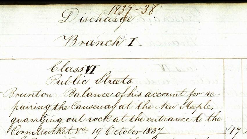 Image of Corn Exchange works 19 October 1837