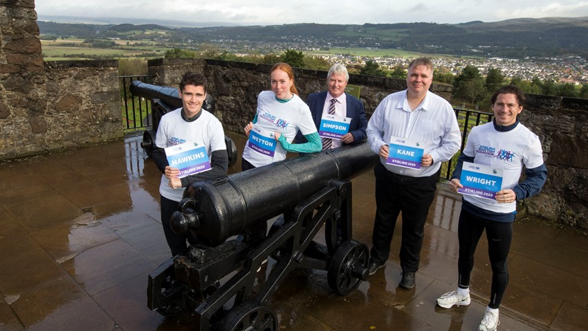 Callum Hawkins, Jennifer Wetton, Steve Simpson, Cllr Chris Kane and Michael Wright at the launch of the Stirling Scottish Marathon