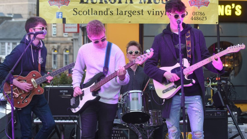 Image of Band Play at Christmas Light Switch on Event