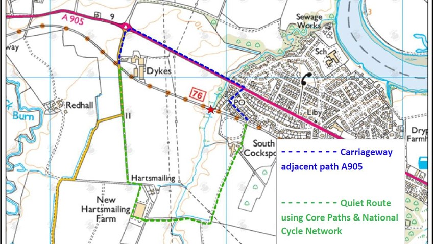 Image of Hollowburn Bridge Alternative Routes along the A905 or the Core Paths and National Cycle Network