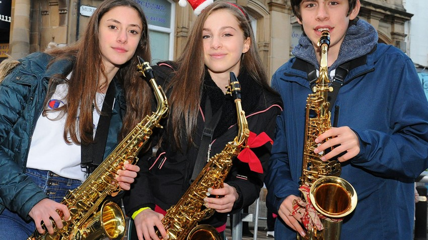 Image of Saxophone Players, Christmas Light Switch on Event