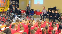 School Children Paying Attention to Chris Hoy