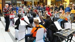 Children's band entertainment at Stirling's Arcade