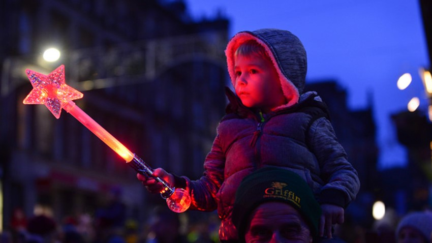 Image of Child with Star Wand, Christmas Lights Switch on Event