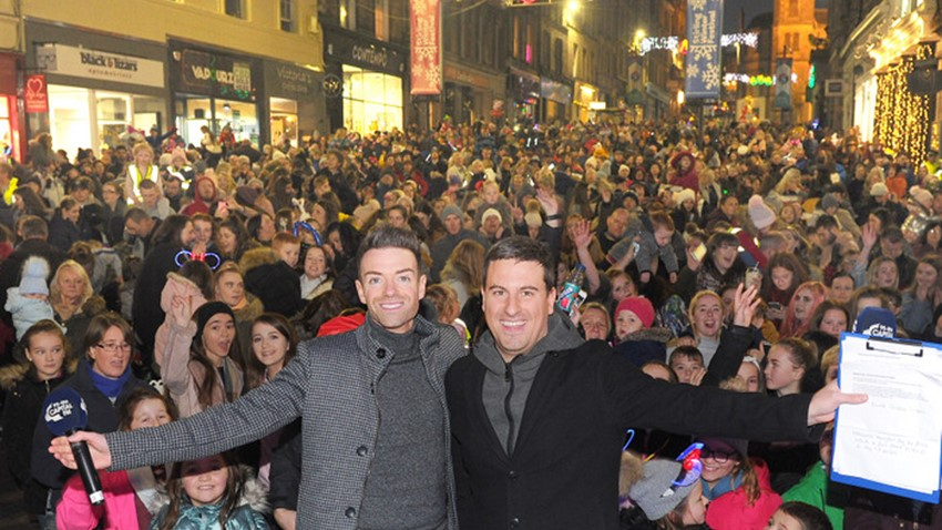 Image of Des Clark and Crowds Christmas Lights Switch on Event