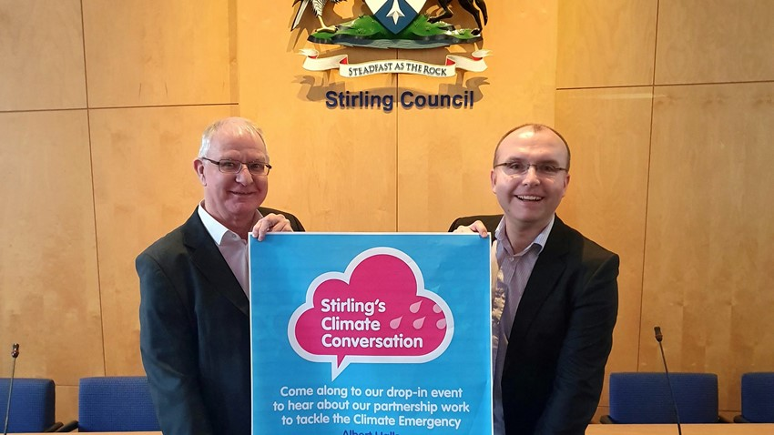 Image of Cllrs Thomson and Gibson encourage the public to attend Stirling's Climate Conversation