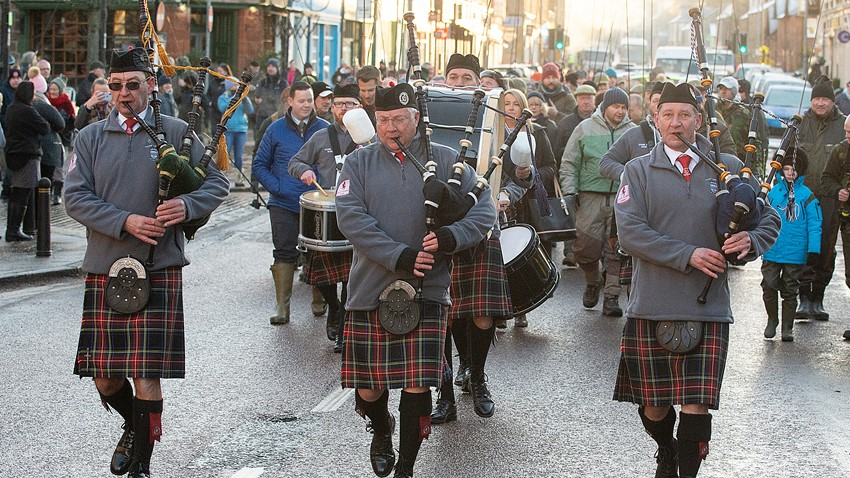Image of Pipers Marching in Stirling City Center