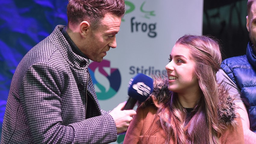 Image of Des Clark interviews Girl, Christmas Lights Switch on Event