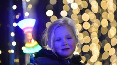 Girl with light up Fairy Wand, Christmas Lights Switch on Event