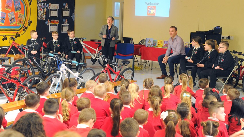 Image of School Children Paying Attention to Chris Hoy