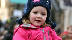Child's amazement at Christmas Light Switch on Event