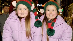 Girls at Christmas Lights Switch on Event