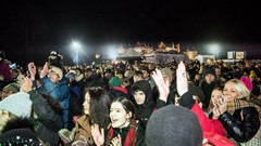 Crowds gather Stirling Hogmanay