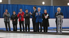 Picture shows the medal ceremony at the World Wheelchair Curling Championships, with Stirling Provost Christine Simpson representing the city.