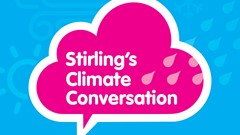 Poster to promote Stirling's Climate Conversation Drop-in event at the Albert Halls - March 18, 2020
