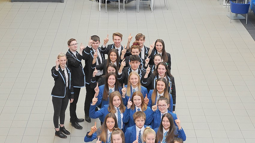 Dunblane HS pupils celebrate being named No.1 secondary school in Scotland