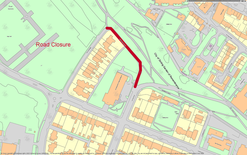 map of greenwood avenue and a line showing the closure