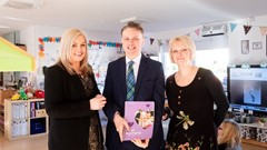 Kate O'Neill, Head of Cornton Nursery; Chief Executive of the Care Inspectorate, Peter Macleod; Lois Anderson, Inspector (Registration) and Improvement Adviser