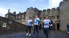 Michael Wright, Jennifer Wetton and Callum Hawkins at the launch of the Stirling Scottish Marathon