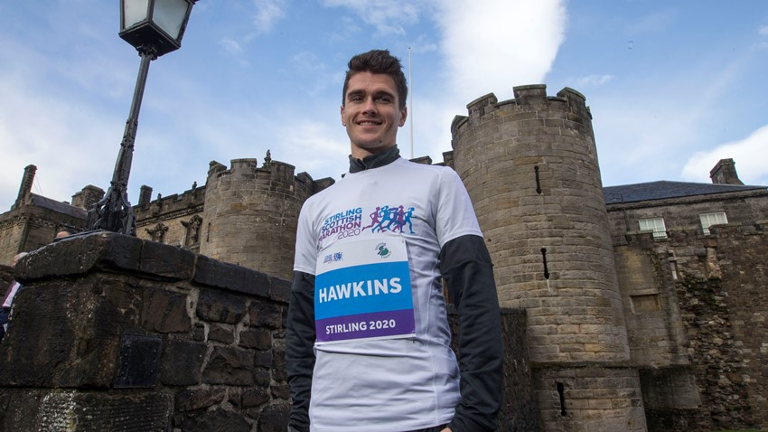 Image of Callum Hawkins at the launch of the Stirling Scottish Marathon