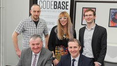 Front Row - Scott Farmer, Leader of Stirling Council, Michael Matheson MSP - Cabinet Secretary for Transport, Infrastructure and Connectivity Back Row - Will Adams, a tenant of Codebase Stirling, Kelly Gardner, Digital and Events, Codebase Stirling; Adam Alton, Senior Manager at Codebase Stirling.