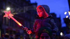 Child with Star Wand, Christmas Lights Switch on Event