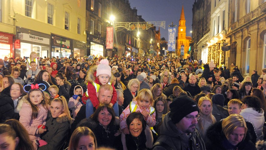 Image of Christmas Lights Switch on Event Crowds