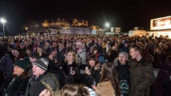 Crowd enjoying Stirling's Hogmanay 2019
