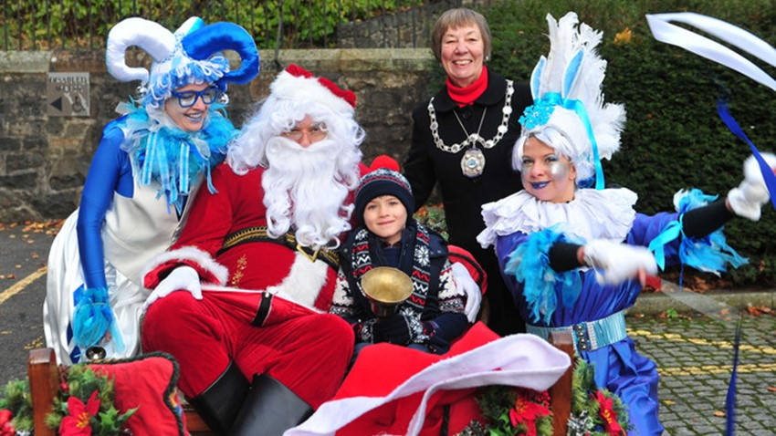 Image of Provost, Child, Santa & Helpers at Christmas Light Switch on Event