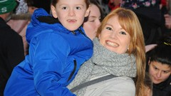 Mother and Son, Christmas Lights Switch on Event
