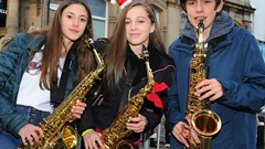 Saxophone Players, Christmas Light Switch on Event